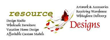 Resource Designs design studio, wholesale furniture, artwork, accessories,workroom, receiving warehouse
